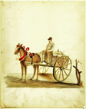 Creole cart and driver. Acc. # 1953.158.36. Watercolor and pencil on paper by Anna Maria von Phul, 1818. Missouri Historical Society Museum Collections. Von Phul 36. Scan © 2007, Missouri Historical Society.
